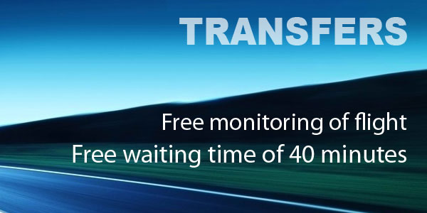 Transfers. Free waiting time of 40 minutes. Free monitoring of flight.